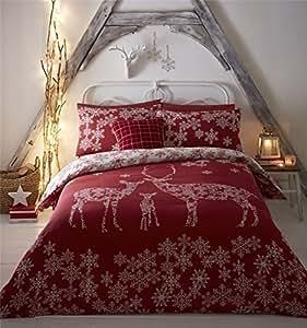 Navidad Invierno Reno Copos de nieve rojo mezcla de algodón doble (Plain White–Sábana bajera 137x 191cm + 25) 4piezas Juego de cama