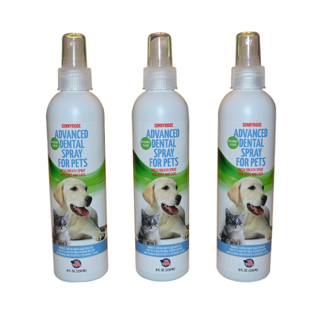 Sonnyridge Dog Dental Spray Removes Tartar, Plaque and Freshens Breath Instantly. The Most Advanced Dental Spray for Healthy Teeth, Gums and Oral Health Care for Your Dog, Cat or Pet - 1- 8 oz. bottle