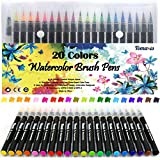 Watercolor Brush Pens Art Markers, Art Supplies 20Pcs Brush Marker Pens Colored Pens Script Paintbrush for Calligraphy with 1 Water Paintbrush Felt Tip Pen