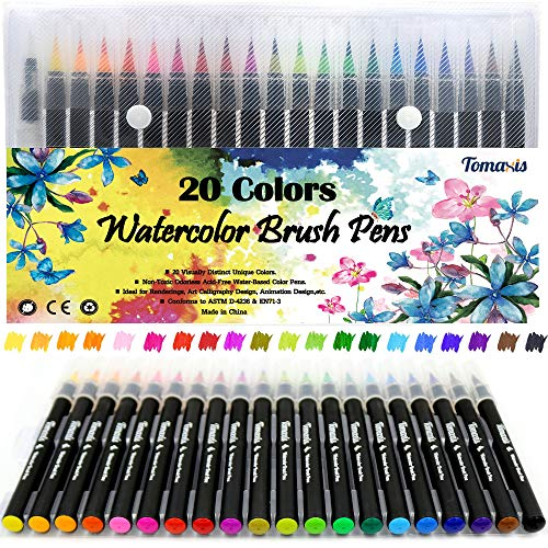 Watercolor Brush Pens Art Markers, Art Supplies 20Pcs Brush Marker Pens Colored Pens Script Paintbrush for Calligraphy with 1 Water Paintbrush Felt Tip Pen ()