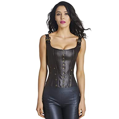 Image Unavailable. Image not available for. Color  SOFYEE Leather Sexy  Gothic Faux Bond Lace Up Lace Body ... d0c77accc