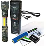 Nebo Slyde King CAMO 330 Lumen USB rechargeable LED flashlight/Worklight 6643, rechargeable Li-ion battery with EdisonBright USB charger bundle