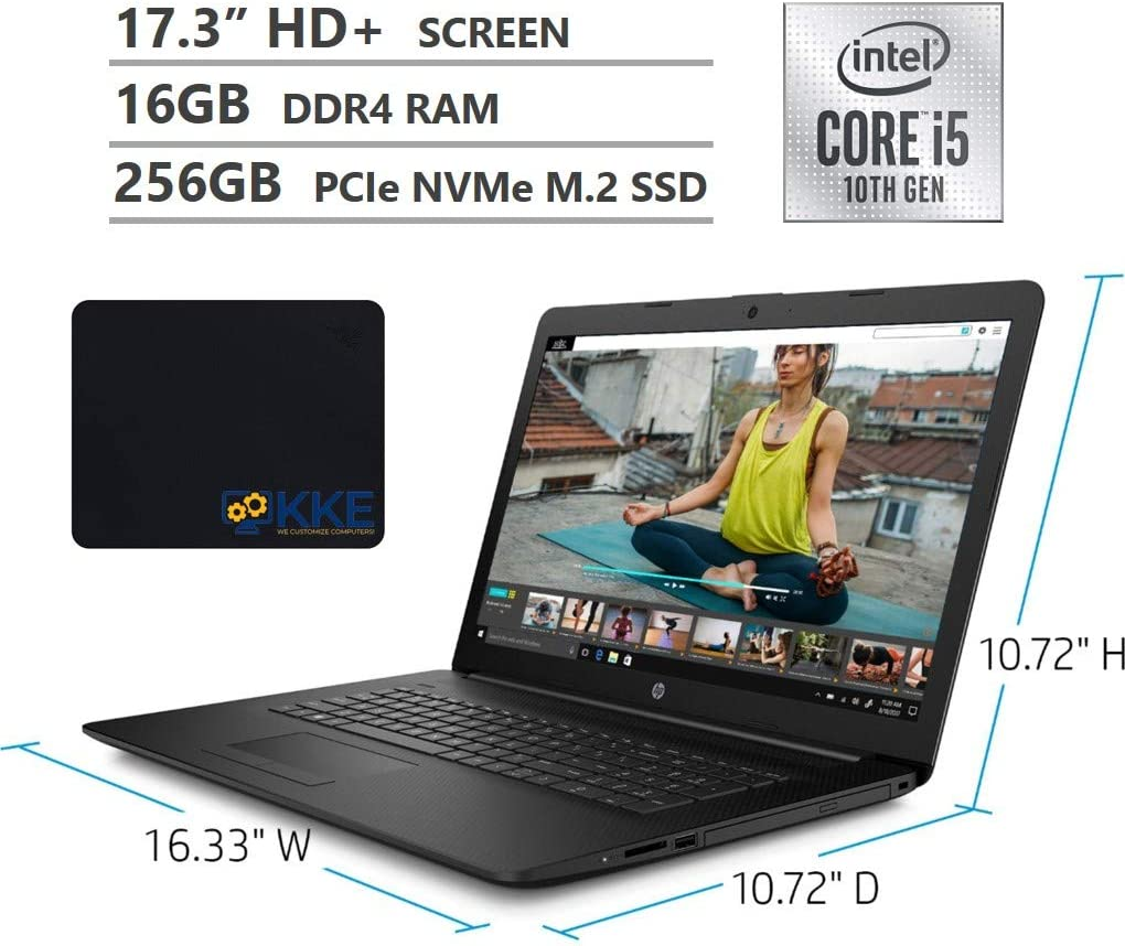 "2020 Newest HP 17.3"" HD+ Screen Laptop, 10th Gen Intel Core i5-1035G1 Quad-Core Processor up to 3.60GHz, DVD, HDMI, Wi-Fi, Windows 10 Home, Jet Black, KKE Mousepad (16GB RAM 