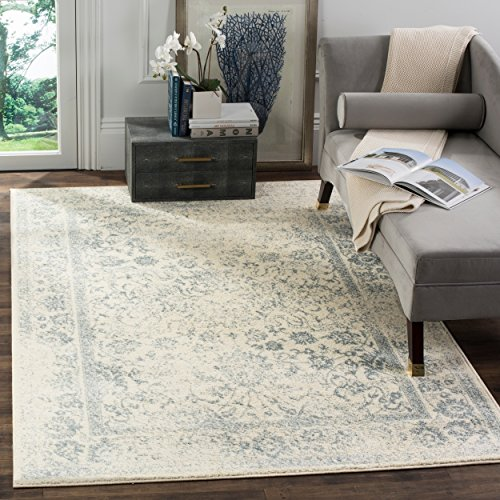 Slate Blue Rectangular Rug - Safavieh Adirondack Collection ADR109S Ivory and Slate Oriental Vintage Distressed Area Rug (2'6 x 4')