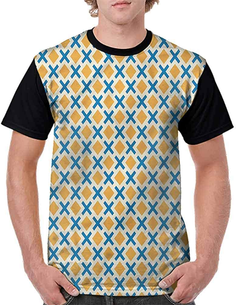 BlountDecor Unisex T-Shirt,Squares Dashed Lines Tile Fashion Personality Customization