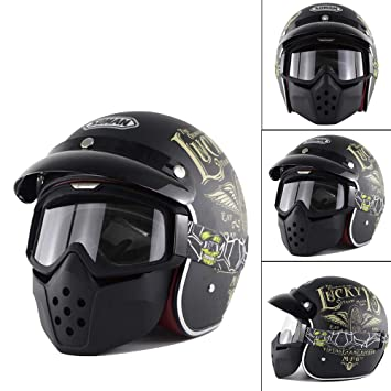 Retro Casque Harley 34 Open Face Moto Casque De Motocyclette Ece