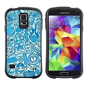 Hybrid Anti-Shock Bumper Case for Samsung Galaxy S5 / Cool Vintage Badass Pattern