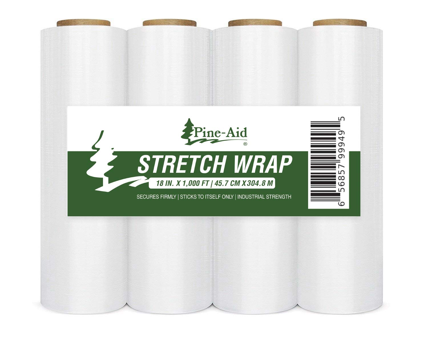 Stretch Wrap - 18'' X 1000 Sq Ft X 80 Gauge (20 Microns) Industrial Strength Thick & Most Durable, Self-Adhesive Film - Cling/Shrink/Pallet Wrap Best for Packing and Moving (4) by Pine-Aid (Image #1)