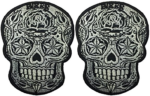 [Set 2 of Live Love Ride Sugar Candy Skull Head Star Eyes Novelty Biker Jacket Sew Iron on Embroidered Applique Emblem Badge Costume Patch By Ranger] (Cleveland Costumes)