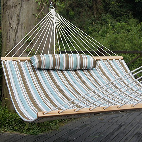 Prime Garden Hammock Quilted Fabric with Pillow Double Size Spreader Bar Heavy Duty Stylish for Outdoor Garden Patio, 2 Person 450 lbs Capacity(Blue Stripe)