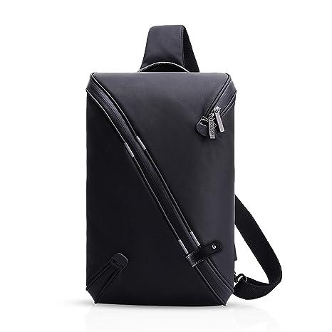 FANDARE Mode Sling Bag Crossbody Bag Bolsas Gimnasio Mochila Hiking Bag Ciclismo Senderismo Bolso Bandolera Hombre Hombro Impermeable Poliéster Negro