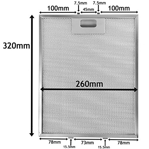 SPARES2GO Universal Metal Mesh Filter for all Makes of Cooker Hood/Extractor Fan Vent (Silver, 320 x 260 mm)