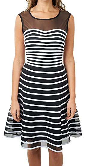 Joseph Ribkoff Semi Sheer Black With White Stripes Flared Dress