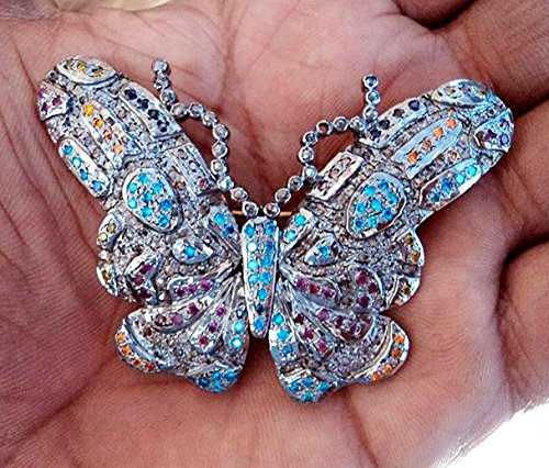 Chanvanworld 925 Silver Natural Rose Cut Diamond Butterfly Brooch Pendant Handcrafted Anniversary Gift Pin