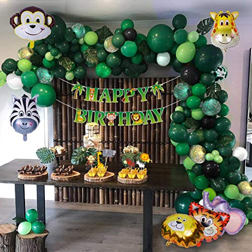 Jungle Safari Theme Party Supplies 176 PCS Jungle Balloon Kit Kids Boys Birthday Baby Shower Decor Balloons for Parties Ins Balloons Decorations