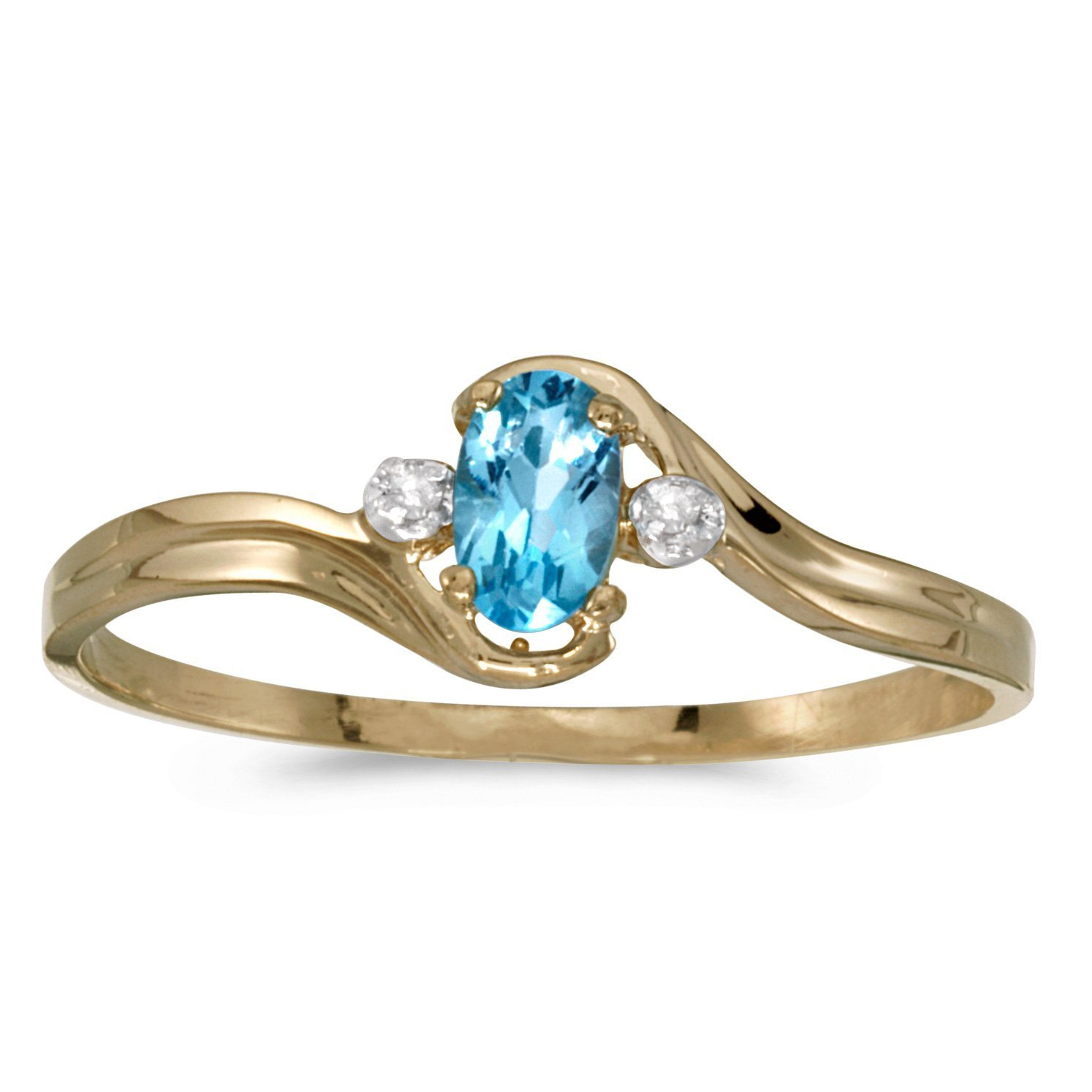 FB Jewels 14k Yellow Gold Genuine Blue Birthstone Solitaire Oval Blue Topaz And Diamond Wedding Engagement Statement Ring - Size 8 (1/5 Cttw.)