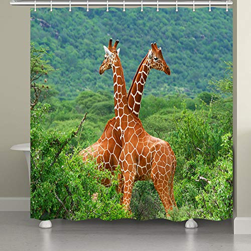 JAWO Giraffe Shower Curtain for Bathroom, African Safari Animal Decor Giraffes in Green Forest Spring Nature Bathroom Accessories Fabric Bathroom Curtain with Shower Curtain Hooks