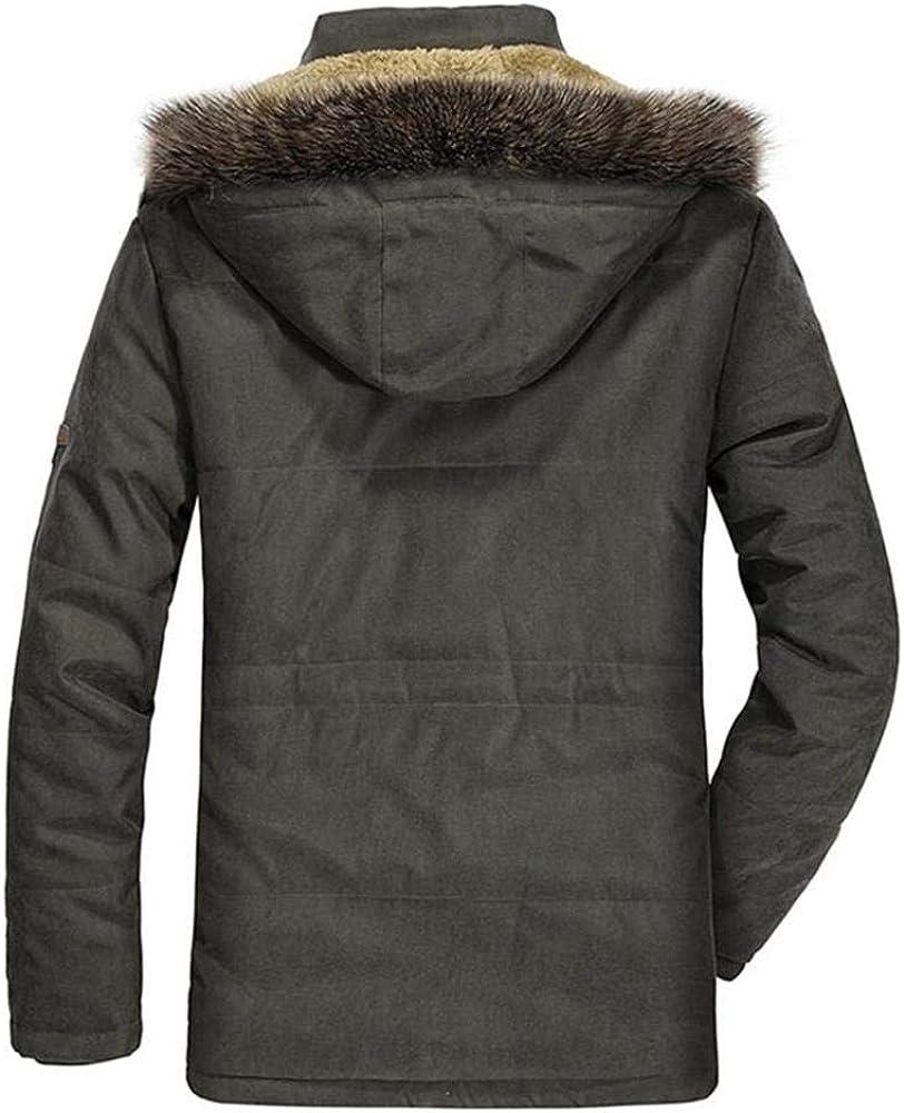 Aehoor Winter Jacket Mens Thick Hooded Fur Collar Warmth Slim Coat Windproof