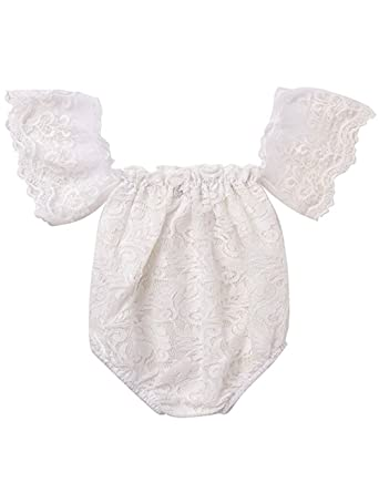 320e189c8e91 Newborn Baby Girl Off Shoulder Clothes Flower Lace Romper White Ruffles  Sleeve Bodysuit Outfits 0-