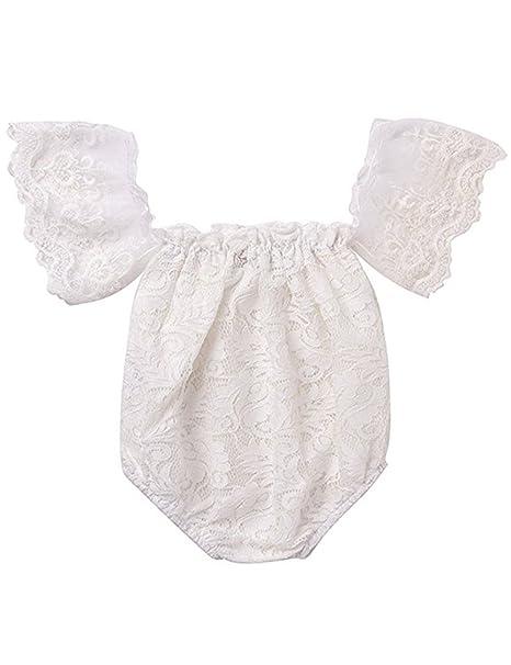 Amazon.com: Bebé recién nacido niña fuera del hombro de la ...