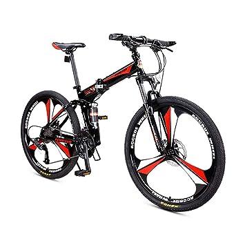 LETFF Bicicleta Plegable para Adultos De 26 Pulgadas, Amortiguadores Dobles De 27 Velocidades para Hombres