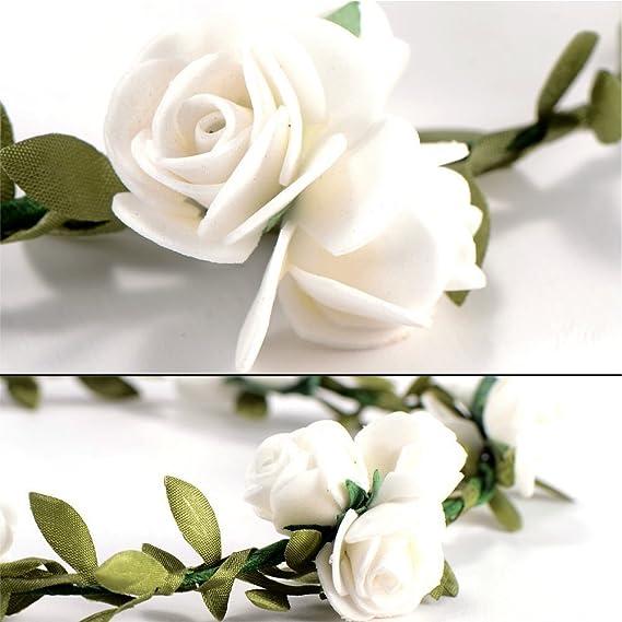 iShine Diadema Corona Flores para Cabello Guirnalda Flores Artificiales para el pelo Elegante Decoradas para Boda Fiesta Viaje(Blanca): Amazon.es: Hogar