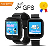Q750 Kid Smart Watch GPS Wifi LBS Monitor Locator Watch Phone 1.54 Inch Touch Screen SOS Safe Anti-Lost Location Device Tracker for kids safe (black)