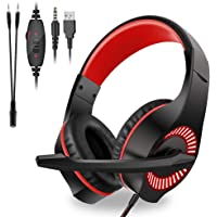 Moglor Cuffie Gaming PS4 PC Antirumore Over Ear con Microfono Xbox One 7.1 Bass Stereo Suono Surround virtuale 3.5mm Jack Regolabile e Retrattile per Nintendo Switch, Mac, Laptop, Smartphone