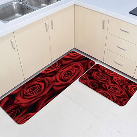 Amazon Com Prime Leader 2 Piece Non Slip Kitchen Mat Runner Rug Set Doormat Dark Red Rose Flower Door Mats Rubber Backing Carpet Indoor Floor Mat 15 7 X23 6 15 7 X47 2 Garden Outdoor