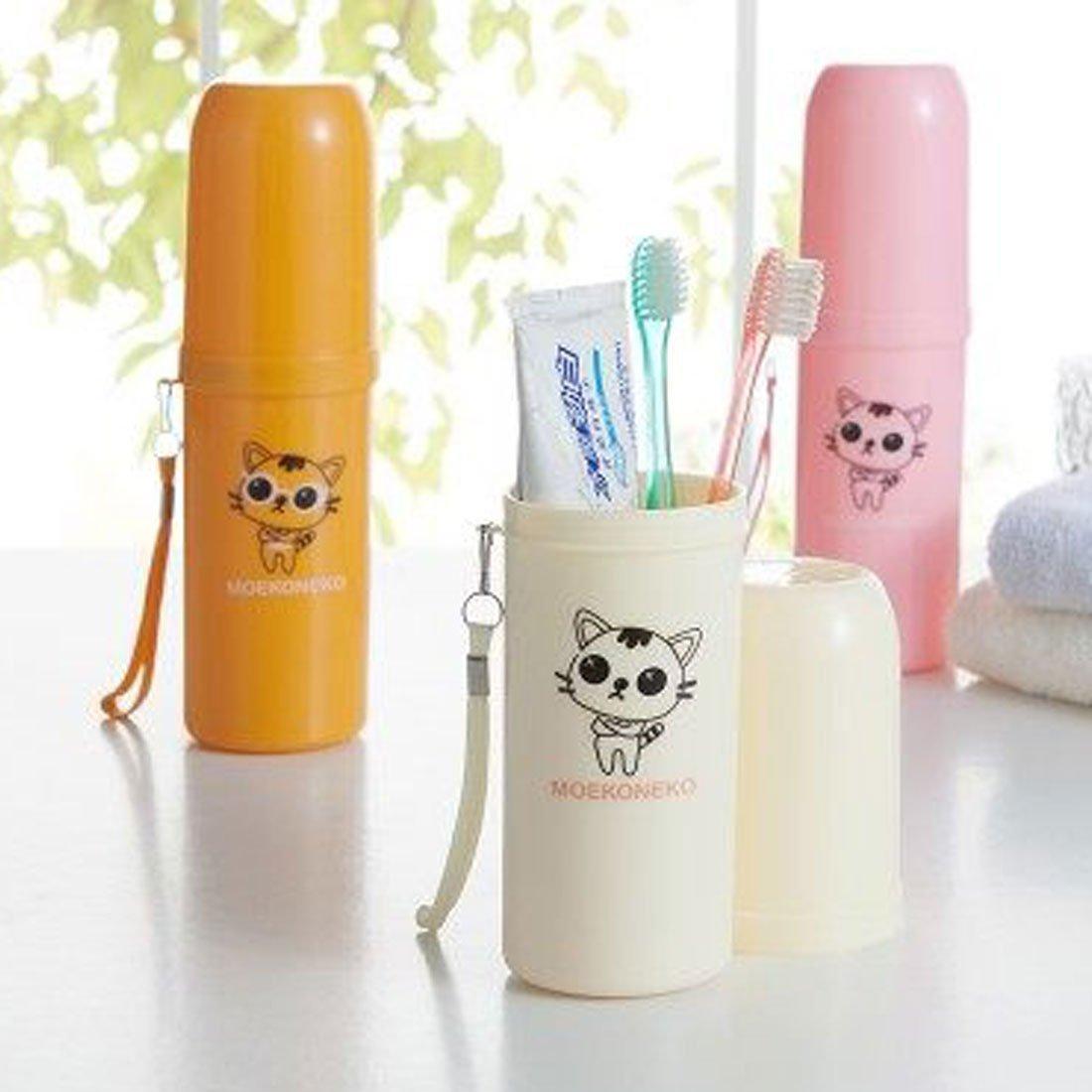 Amazon.com: eDealMax gato Modelo plástico cilíndrico Forma de Botella Cepillo de dientes Pasta de dientes Titular Brown: Home & Kitchen