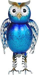 Metal Owl Decor Standing Outdoor Statue for Garden, Patio, Backyard, Porch, Lawn Decorations, 10-Inch (Blue)