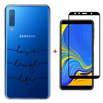 Funda Samsung Galaxy A7 2018 Case WYRHS Ultra Suave TPU Silicona Transparente Carcasa + 1*Protector de Pantalla de Vidrio Templado Anti-Scratch ...
