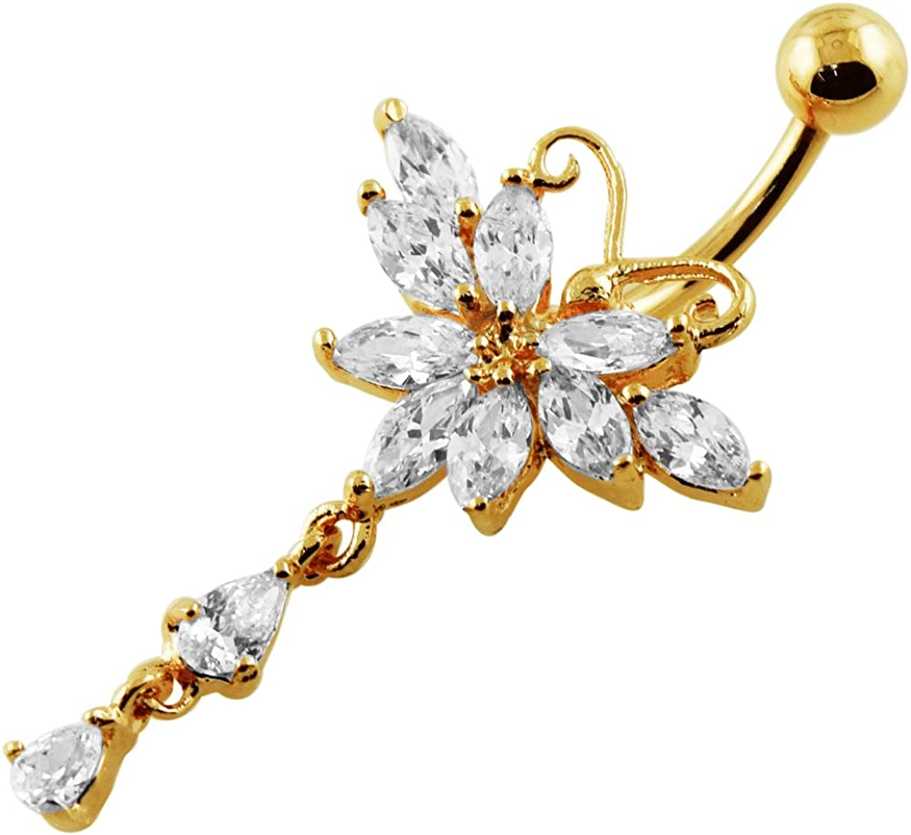 AtoZ Piercing CZ Stone Triple Butterfly Dangling 925 Sterling Silver Belly Button Ring Jewelry