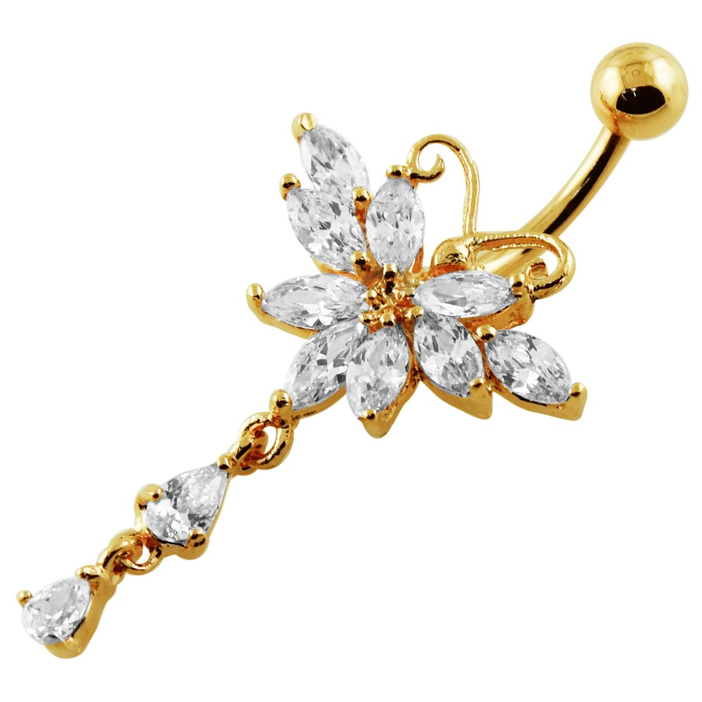 AtoZ Piercing Gold Plated Clear CZ Stone Butterfly Dangling Design Sterling Silver Belly Button Rings