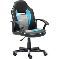 Fauteuil de Bureau pour Étudiant Chaise en SimilicuirSiège Ergonomique Hauteur Réglable (Bleu clair)