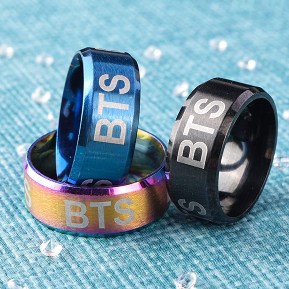 Jingchen Charming KPOP BTS Bangtan Boys BTS Element Zubeh/ör Titanstahl Buchstaben Bedruckte Ringe Hot Geschenk f/ür A.R.M.Y Fine 5740