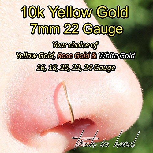 10k Solid Yellow Gold Nose Ring, 7mm Nose Ring Hoop, Nose Piercing, Nose Rings, All Gauges Available