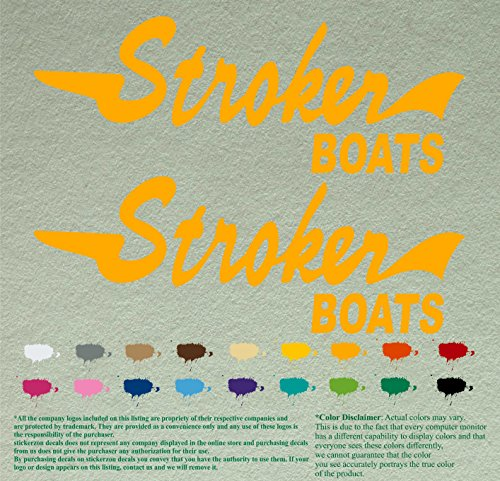 "Pair of Stroker Boats Decals Vinyl Stickers Boat Outboard Motor Lot of 2 (12"", Golden Yellow 020)"
