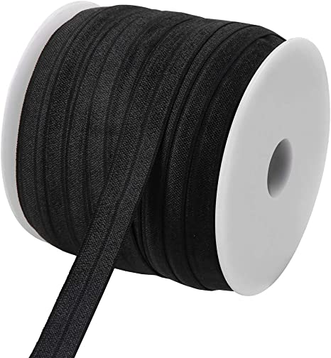 Teemico 50 Yards Elastic Foldover Ribbon Stretch Elastic Band Spool Roll for DIY Baby Girls Hair Bow Ties Headbands Decor,15 mm,5//8 inch Width