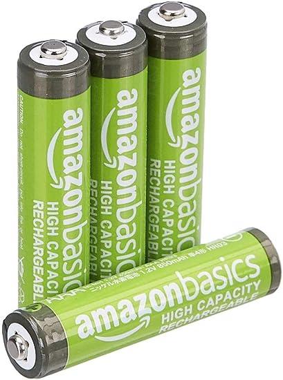 AmazonBasics - Pilas AAA recargables de alta capacidad, precargadas, paquete de 4 (el aspecto puede variar): Amazon.es: Electrónica