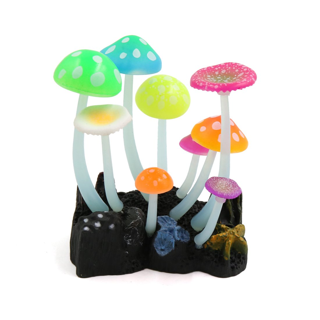 uxcell Silicone Thick Stems Glowing Effect Mushrooms Stone Decor for Aquarium Fish Tank