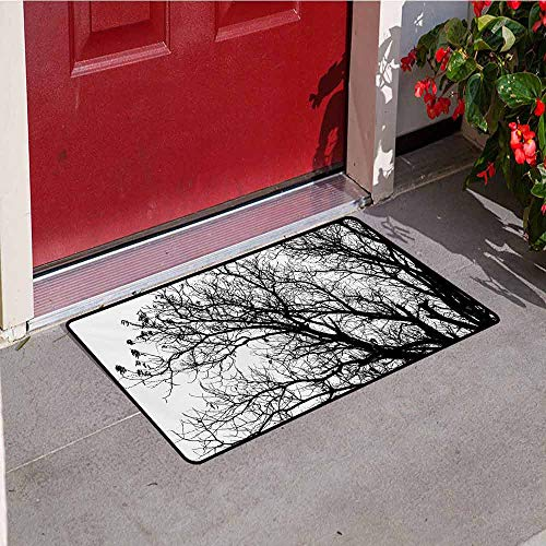 (Jinguizi Nature Front Door mat Carpet Leafless Autumn Fall Tree Branches Tops Oak Forest Woodland Season Eco Theme Machine Washable Door mat W47.2 x L60 Inch Black and White)