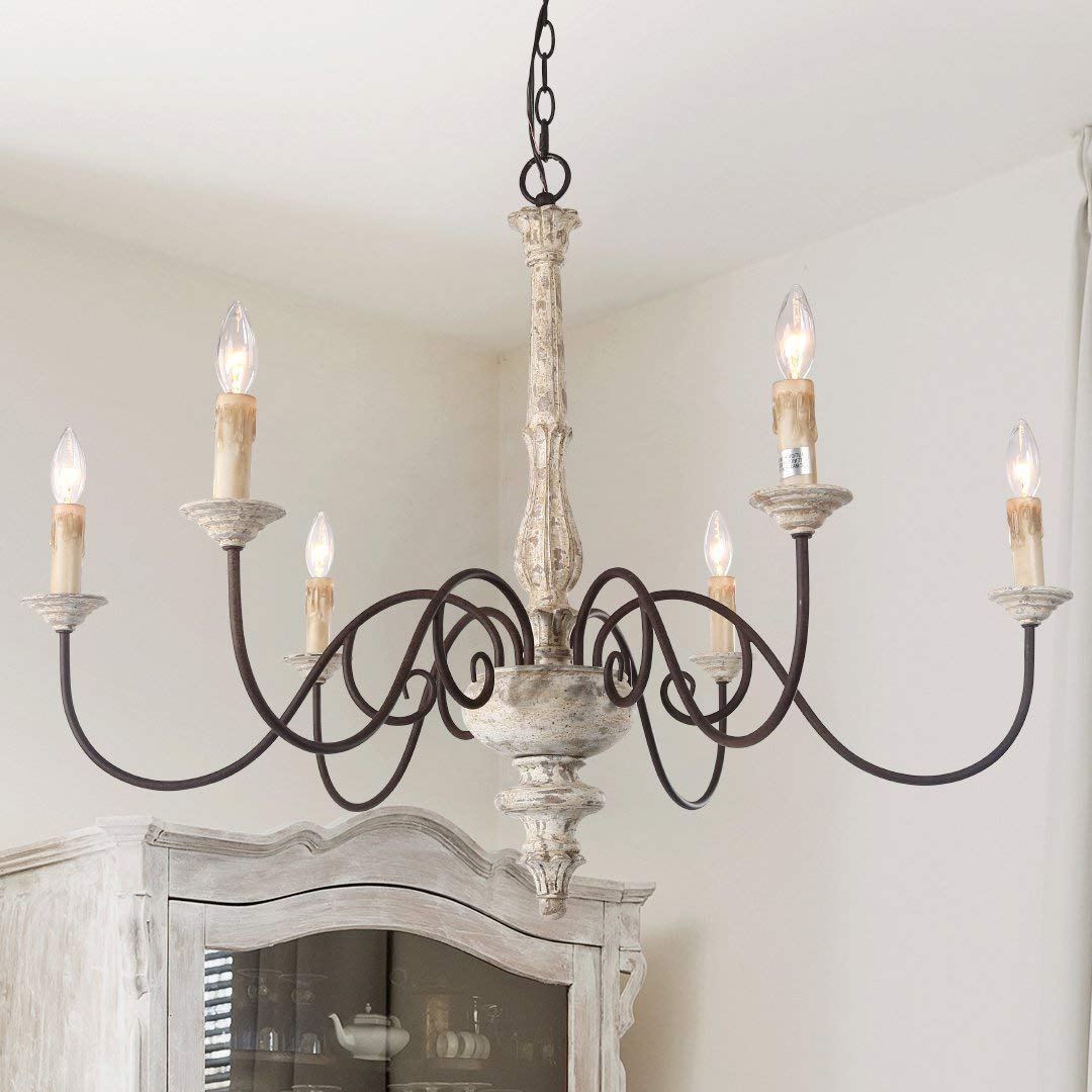 Distressed Wood Chandelier with French country style.