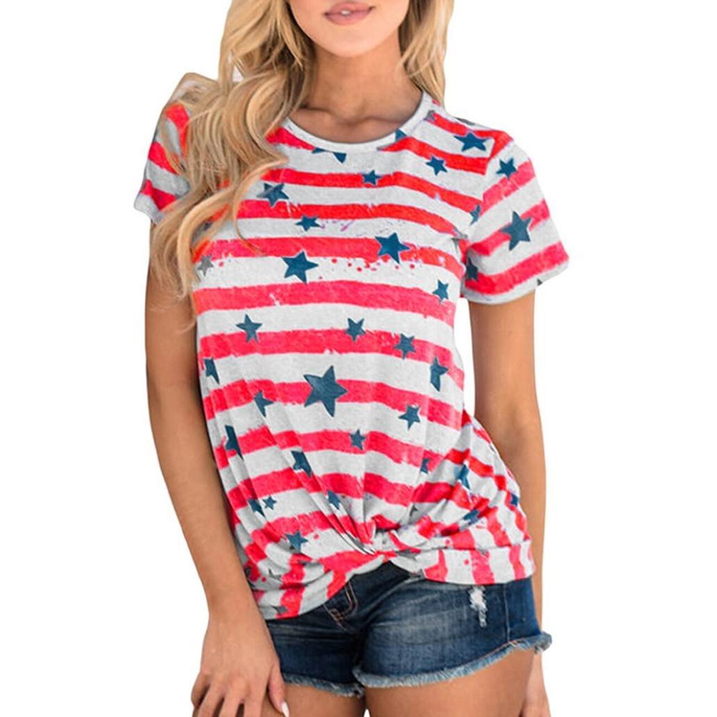 Women Teen Girls Summer Tops Blouse Mingfa Fashion Casual Short Sleeve Star Stripe Round Neck T-Shirt