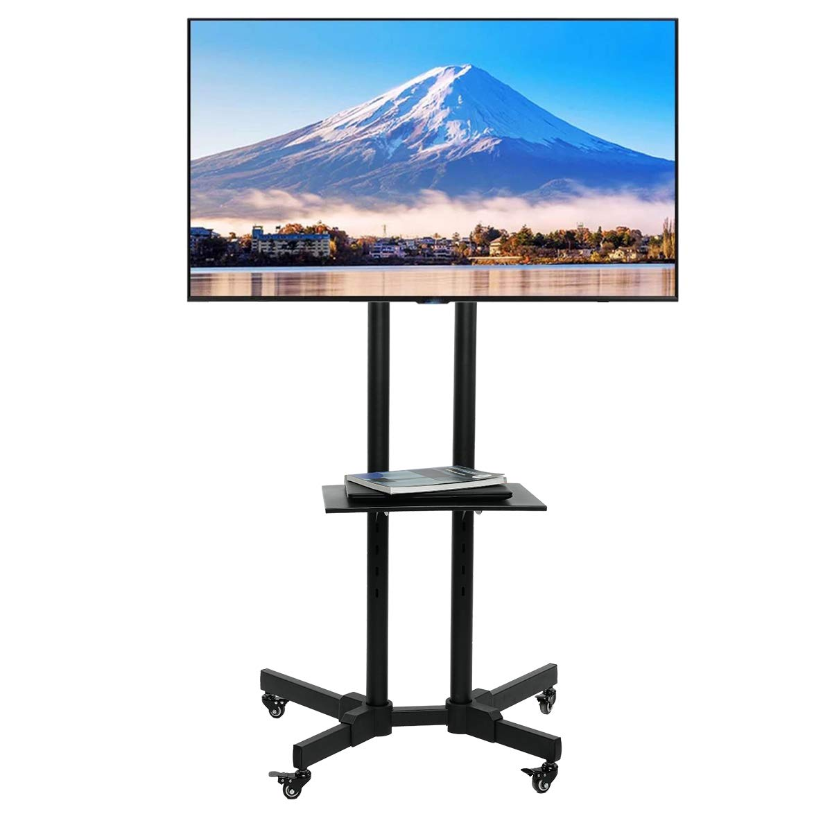 ORAF Rolling TV Cart Mobile TV Stand Height Adjustable with Locking Wheels for 32 to 65 inch LCD LED Plasma Flat Panel Screen