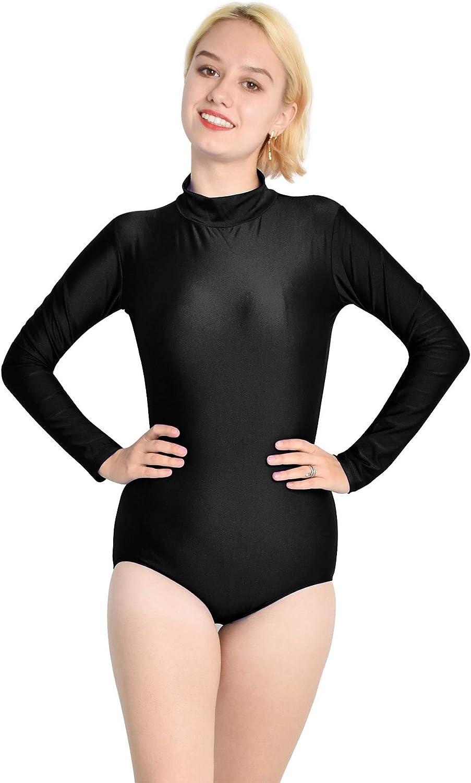 Mvefward Womens Turtleneck Long Sleeve Leotard Basic Solid Color Jumpsuit Bodysuit