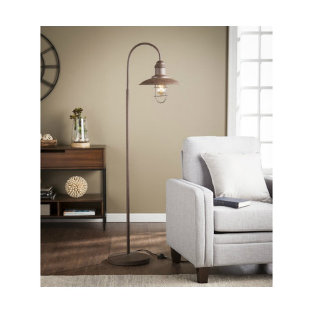 63-Inch Antique Vintage Style Task Floor Lamp For Living Room, Rustic Brown Finish