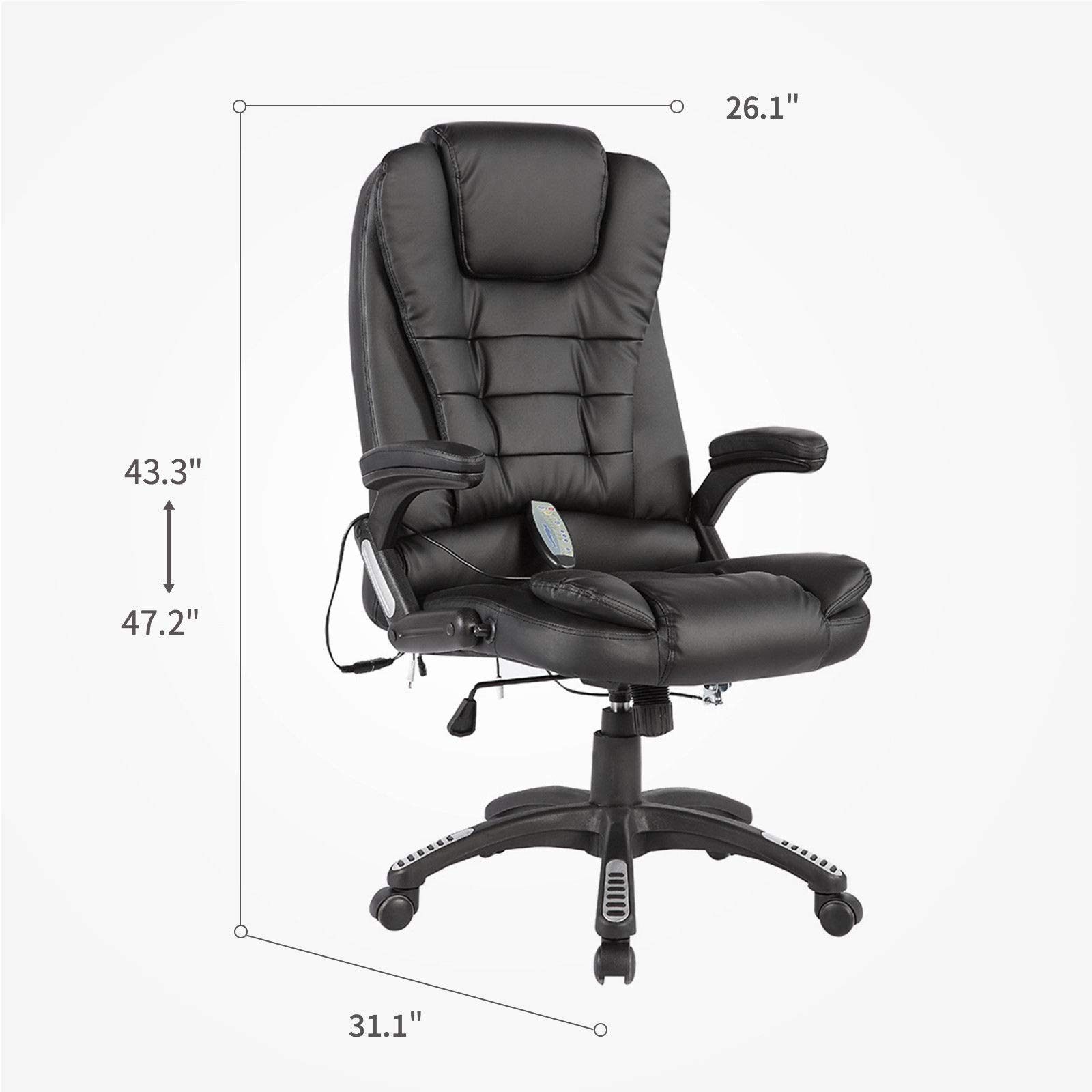 Black Massage Chair Office Swivel Executive Ergonomic Heated Vibrating Leather Chair, Remote Control 6-Point Massage, Adjustable Seat Height & Position by Taltintoo20 (Image #6)