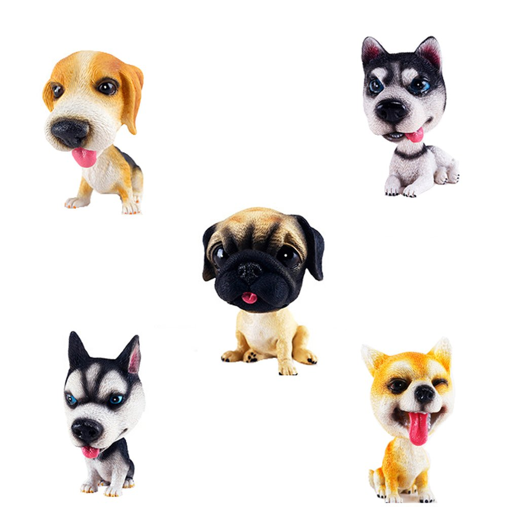 Comidox Handmade childhood memory BobbleHead Dogs Car Dash Puppy for Car Vehicle decoration rocking head dog made by superior Natural Resin Pugs 1PC