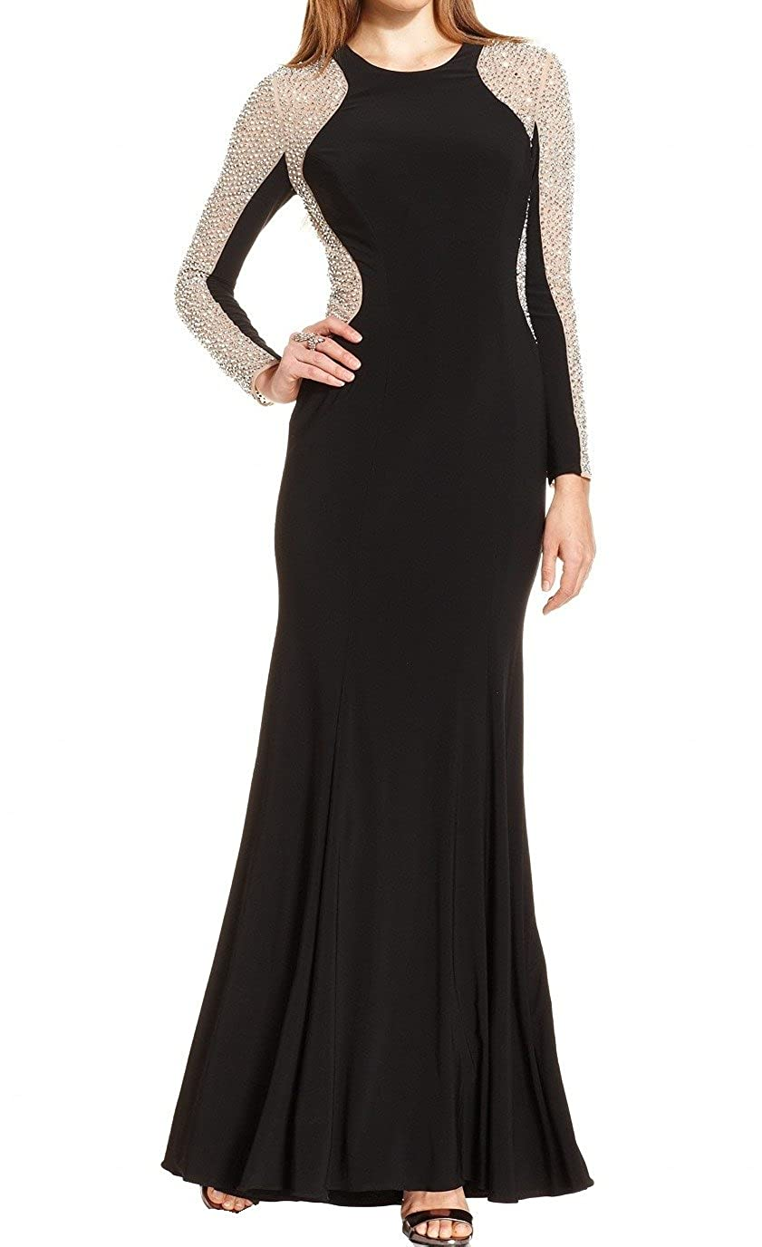 Xscape Women\'s Petite Gown with Illusion Long Beaded Sleeve, Black ...